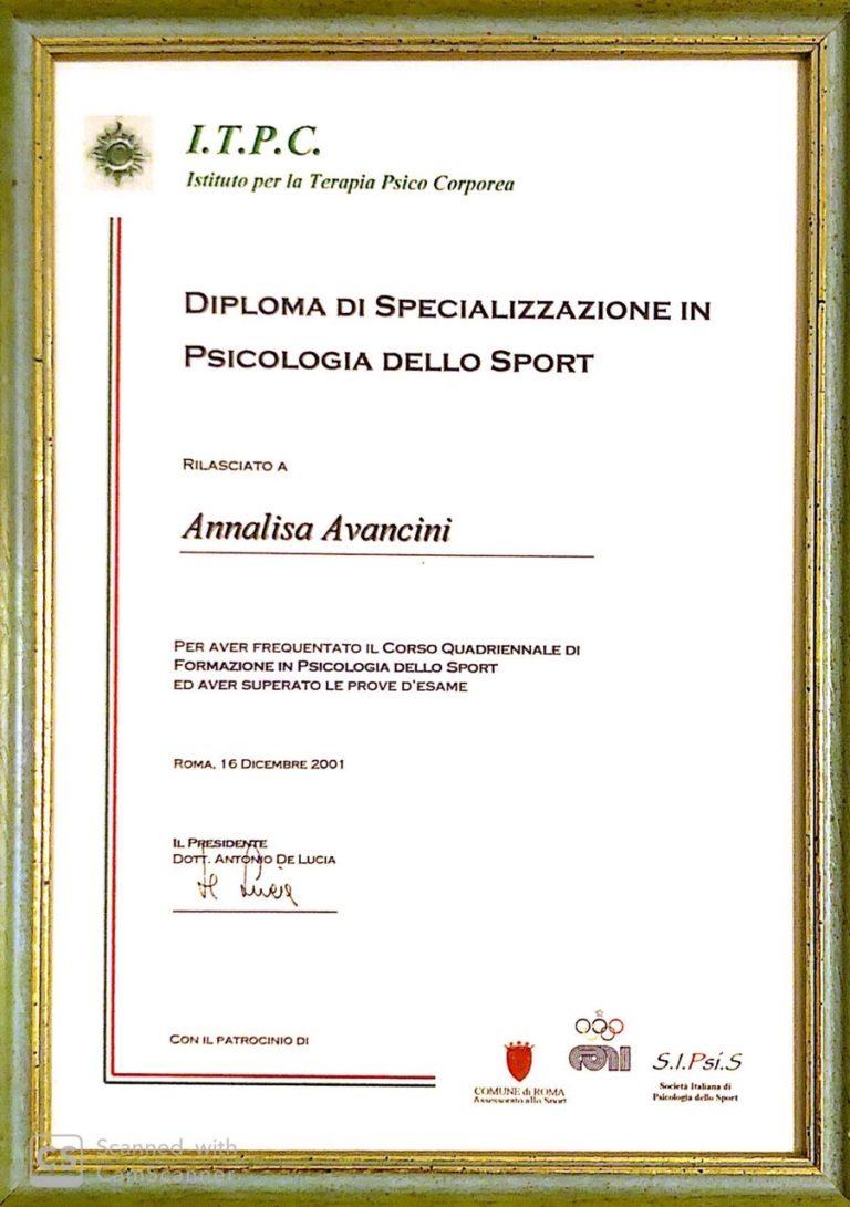 diploma specializzazione psicologia dello sport roma