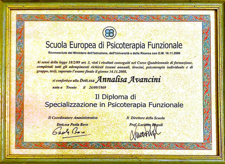Diploma specializzazione in psicoterapia funzionale